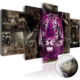 45 Paars Leeuw Afrika Acrylglas Schilderij