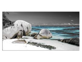 1 Strand Zee Rotsen Glas Schilderij