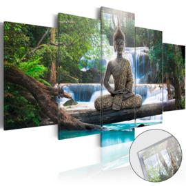 31 Buddha Waterval Acrylglas Schilderij