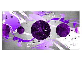 50 Abstract Paars Planeten Glas Schilderij