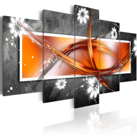 nr4 Abstract Oranje Grijs