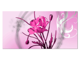 43 Modern Roze Bloem Glas Schilderij