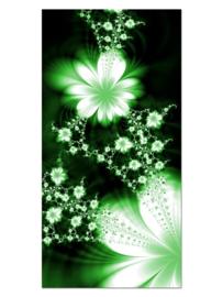 140 Abstract Groen Bloemen Glas Schilderij