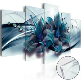 27 Modern Blauw Bloemen Acrylglas Schilderij