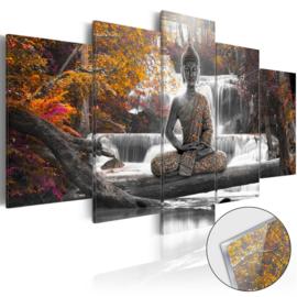 30 Buddha Waterval Acrylglas Schilderij