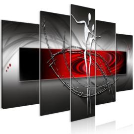 1012 Abstract Grijs Rood Koppel