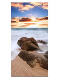 120 Sunset Zee Rotsen Glas Schilderij