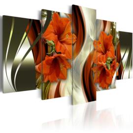 646 Oranje Rode Bloemen Modern