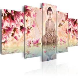 718 Buddha Roze Bloemen