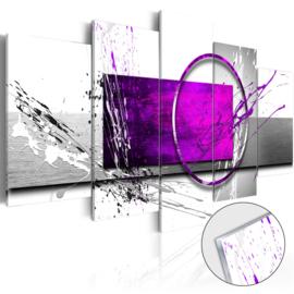 4 Abstract Grijs Paars Acrylglas Schilderij