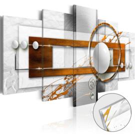 36 Abstract Grijs Oranje Acrylglas Schilderij