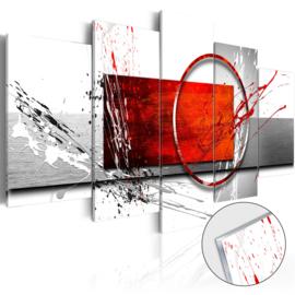6 Abstract Grijs Rood Acrylglas Schilderij