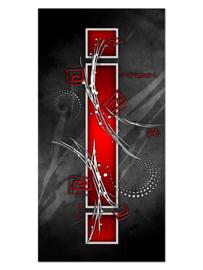 112 Abstract Rood Grijs Design Glas Schilderij