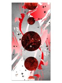 130 Abstract Rood Planeten Glas Schilderij