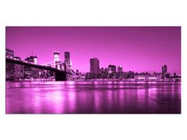 30 Paars New York Brug Glas Schilderij
