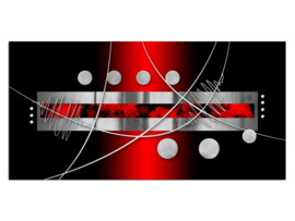 45 Modern Zwart Grijs Rood Glas Schilderij