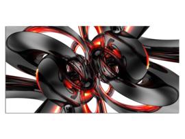 6 Abstract Design Zwart Wit Rood Glas Schilderij