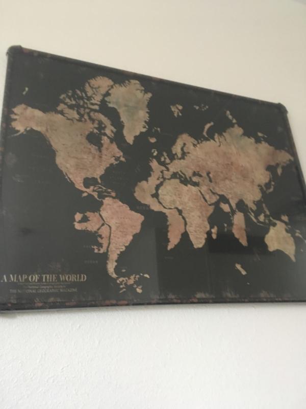 Wereldkaart Landen Metaal met Canvas 60x80cm