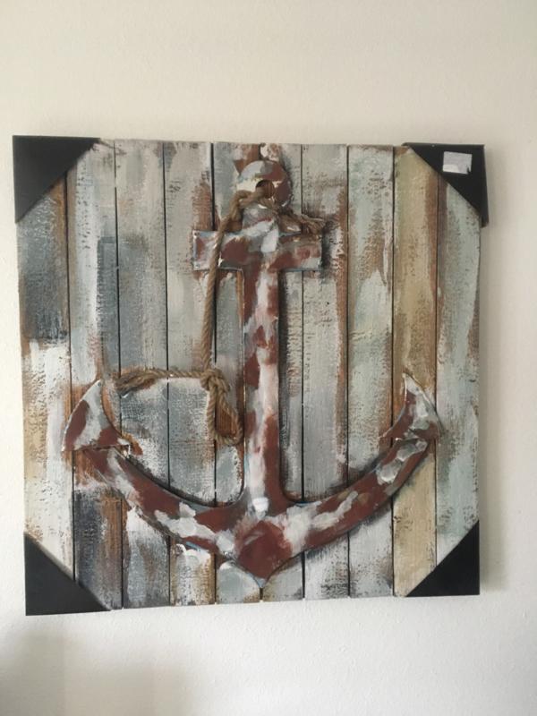 Hout met Metaal 3d Schilderij Anker 80x80cm