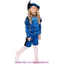 Piet Velours blauw/zwart