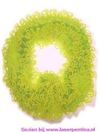Sjaal looping met Franjes fluor geel