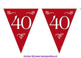 Vlaggenlijn 40 Jaar bordeaux rood