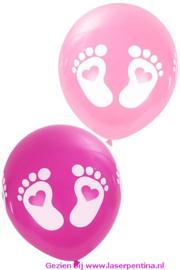 Thema Ballon Geboorte VOETJES  rose