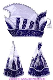 Prinsenmuts blauw/wit