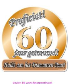 Huldeschild  metallic 60 jaar getrouwd