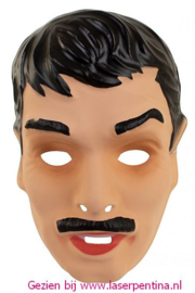 Mannenmasker zwart + Snor