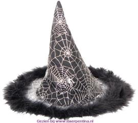 Heksenhoed zwart zilver
