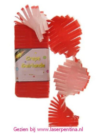 Crepe guirlande rood/wit