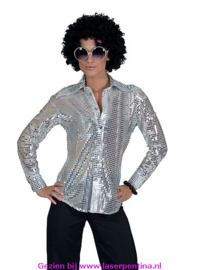 Disco Blouse Pailletten zilver