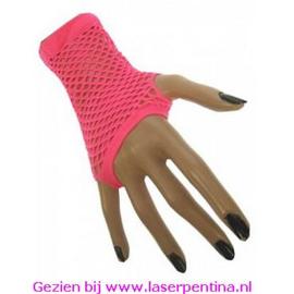 Nethandschoenen kort fluor pink