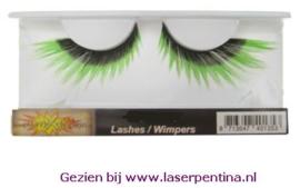 Wimpers zwart + fluor groene punten