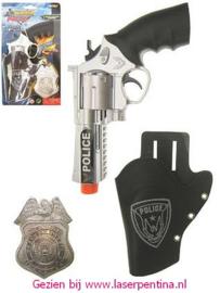 Pistool met Holster + Badge Police