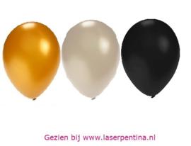"""Effen Ballon 5"""" metallic zwrt/gd/zlvr"""