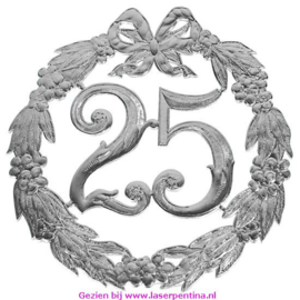 """Jubileumcijfer """"25"""" zilver"""