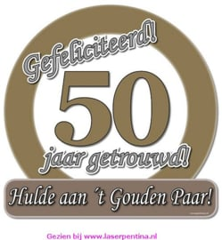 Huldeschild metallic 50 jaar getrouwd