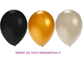 """Effen Ballon 14"""" metallic zwrt/zlvr/gd"""