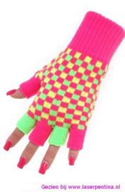 Vingerloze Handschoenen neon geblokt