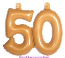 Opblaas Cijfer 50 goud