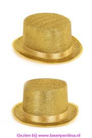 Hoge hoed lurex glitter goud
