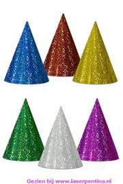 Feesthoedjes holografisch assorti kleuren