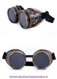 Steampunk Bril goud kleurig