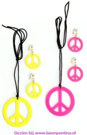 Peace Ketting + Oorbellen neon