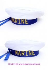 Matrozenbaret blauw/wit