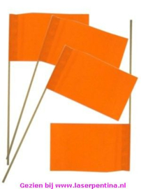 Vlag plastic op Stokje oranje