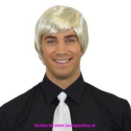 Heren Pruik steil platina blond