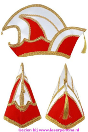 Prinsenmuts rood/wit luxe